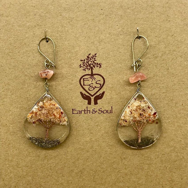 Tree of Life Pendant Earrings - Carnelian