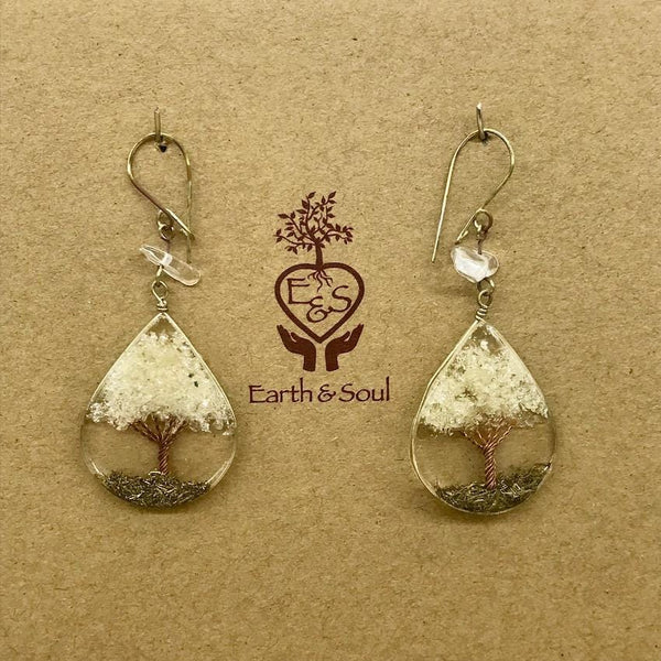 Tree of Life Pendant Earrings - Clear Quartz