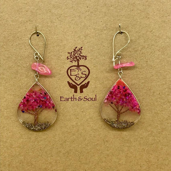 Tree of Life Pendant Earrings - Pink Agate