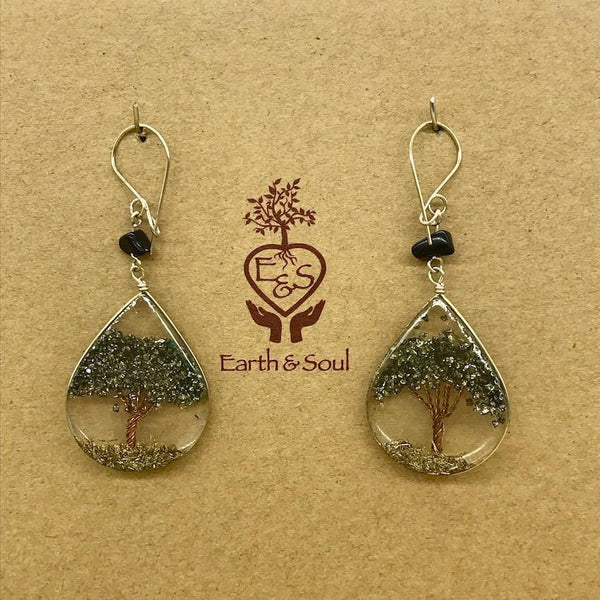 Tree of Life Pendant Earrings - Pyrite