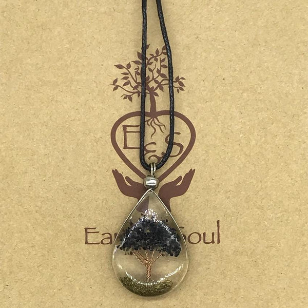 Tree of Life Pendant Necklace - Black Obsidian