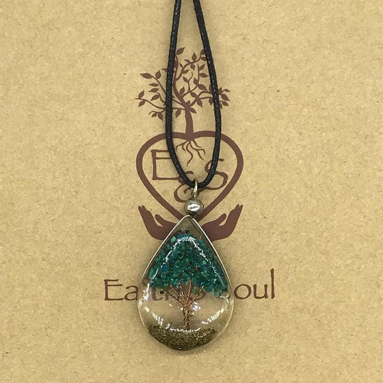 Tree of Life Pendant Necklace - Chrysocolla