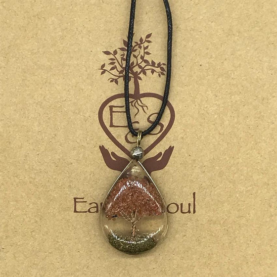 Tree of Life Pendant Necklace - Goldstone
