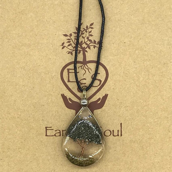 Tree of Life Pendant Necklace - Pyrite