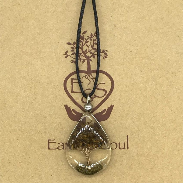 Tree of Life Pendant Necklace - Tiger Eye