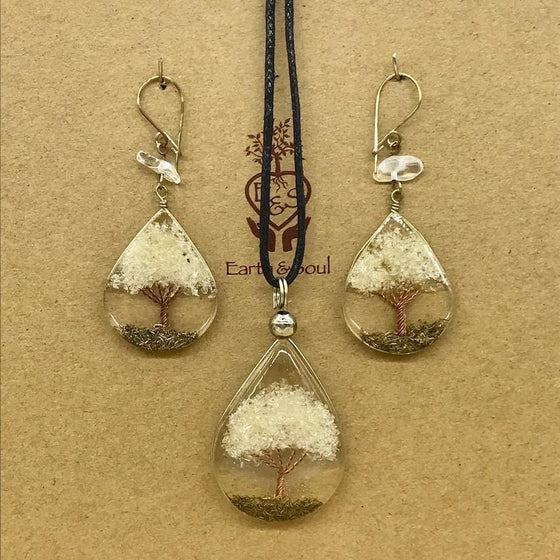 Tree of Life Pendant Necklace and Earring Set - Clear Quartz