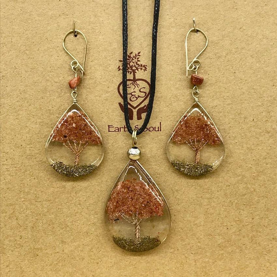 Tree of Life Pendant Necklace and Earring Set - Goldstone
