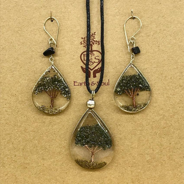 Tree of Life Pendant Necklace and Earring Set - Pyrite