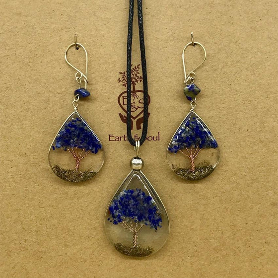Tree of Life Pendant Necklace and Earring Set - Sodalite