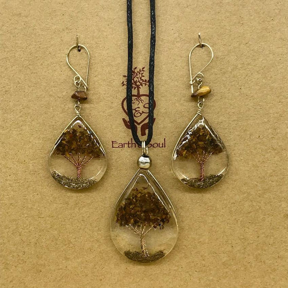 Tree of Life Pendant Necklace and Earring Set - Tiger Eye