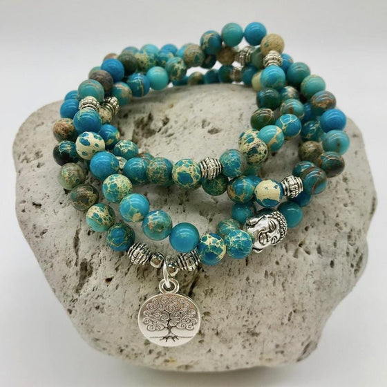 Turquoise Imperial 6mm Stone Bracelet with Tree of Life & Buddha Charm