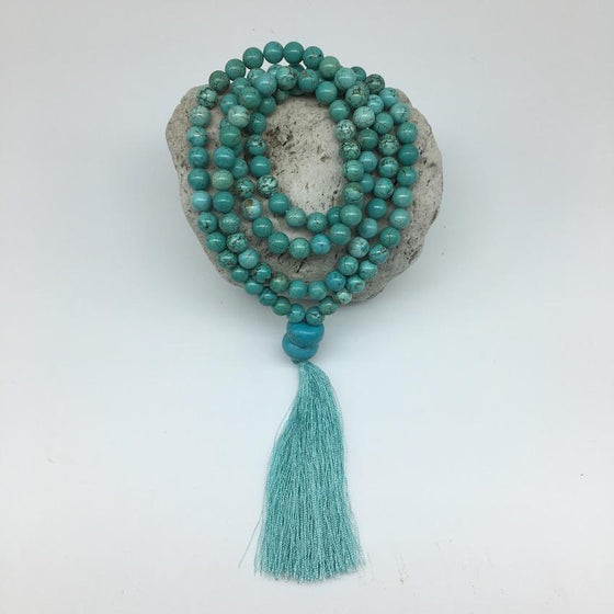 Turquoise 8mm Stone Mala Necklace with a Decorative Tassle