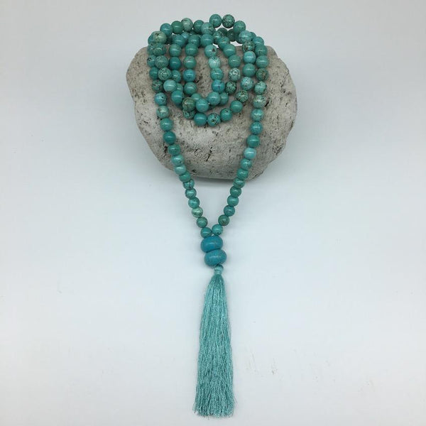 Turquoise 8mm Stone Mala Necklace with Decorative Tassle