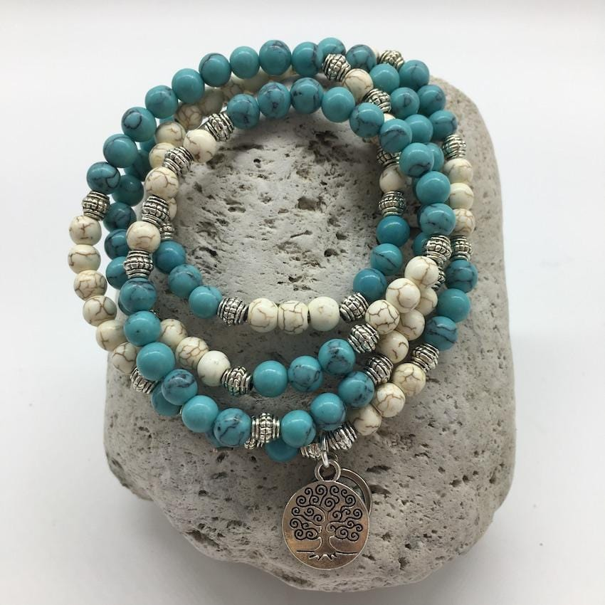 Turquoise and White Buffalo Turquoise 6mm Stone Bracelet with Tree of Life Charm
