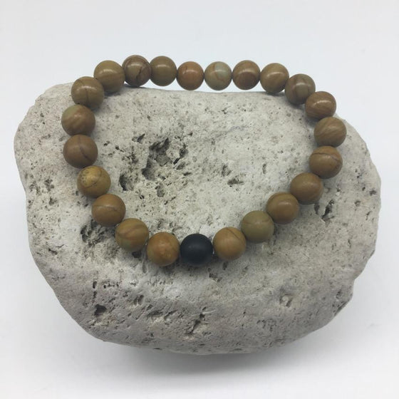 Natural Wood Pattern Stone and Black Agate 8mm Stone Bracelet