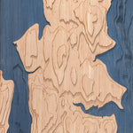bainbridge island topographic wood map closeup