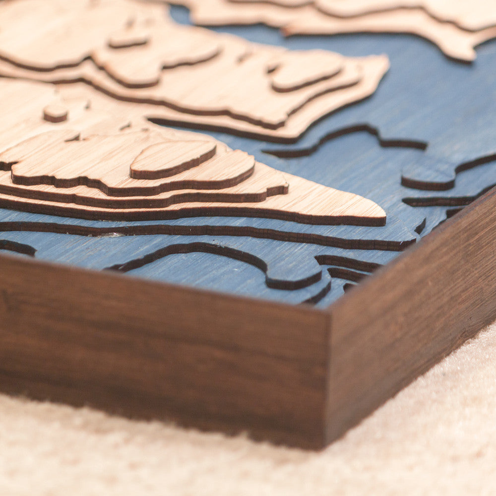 bainbridge island topographic wood map frame corner detail