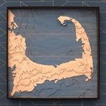 cape cod topographic wood map full