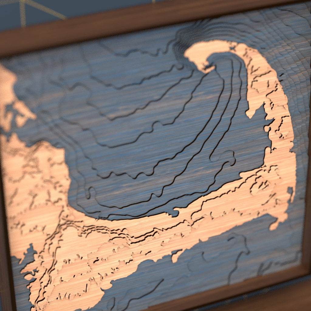 cape cod topographic wood map angle