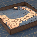 cape cod topographic wood map flat angle