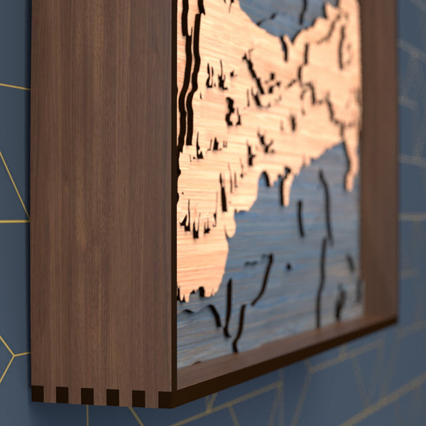 cape cod topographic wood map frame rail detail