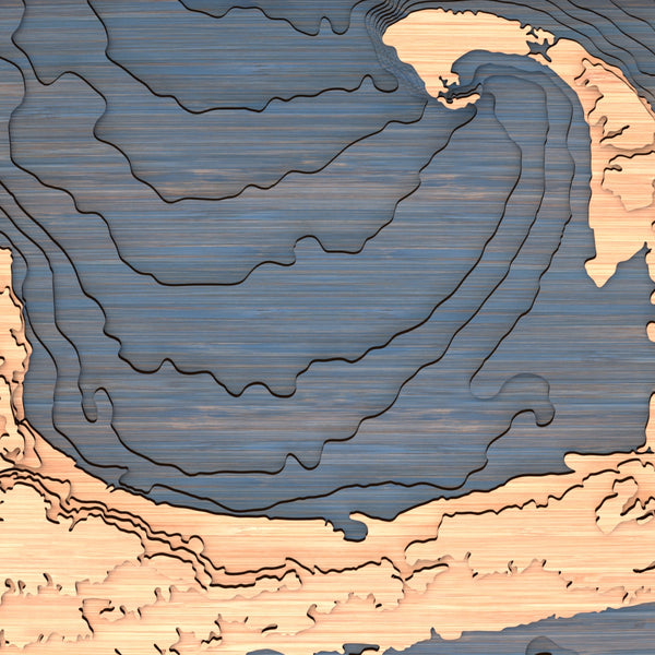 cape cod topographic wood map closeup