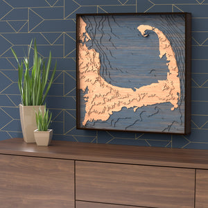 cape cod topographic wood map styled