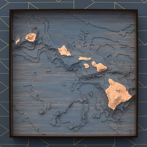 hawaii topographic wood map full