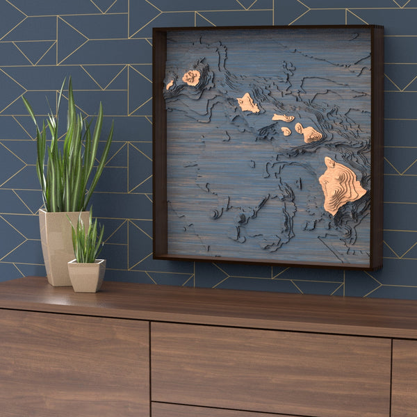 hawaii topographic wood map styled