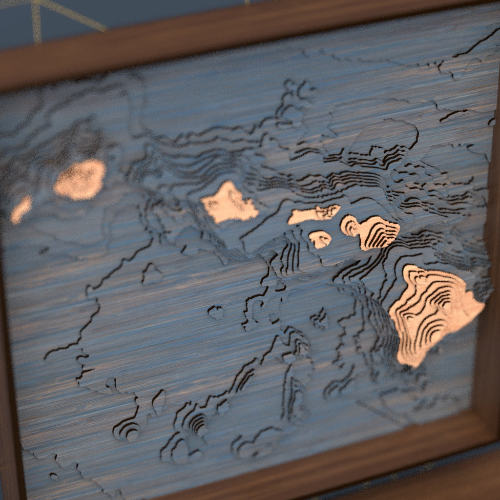 hawaii topographic wood map angle