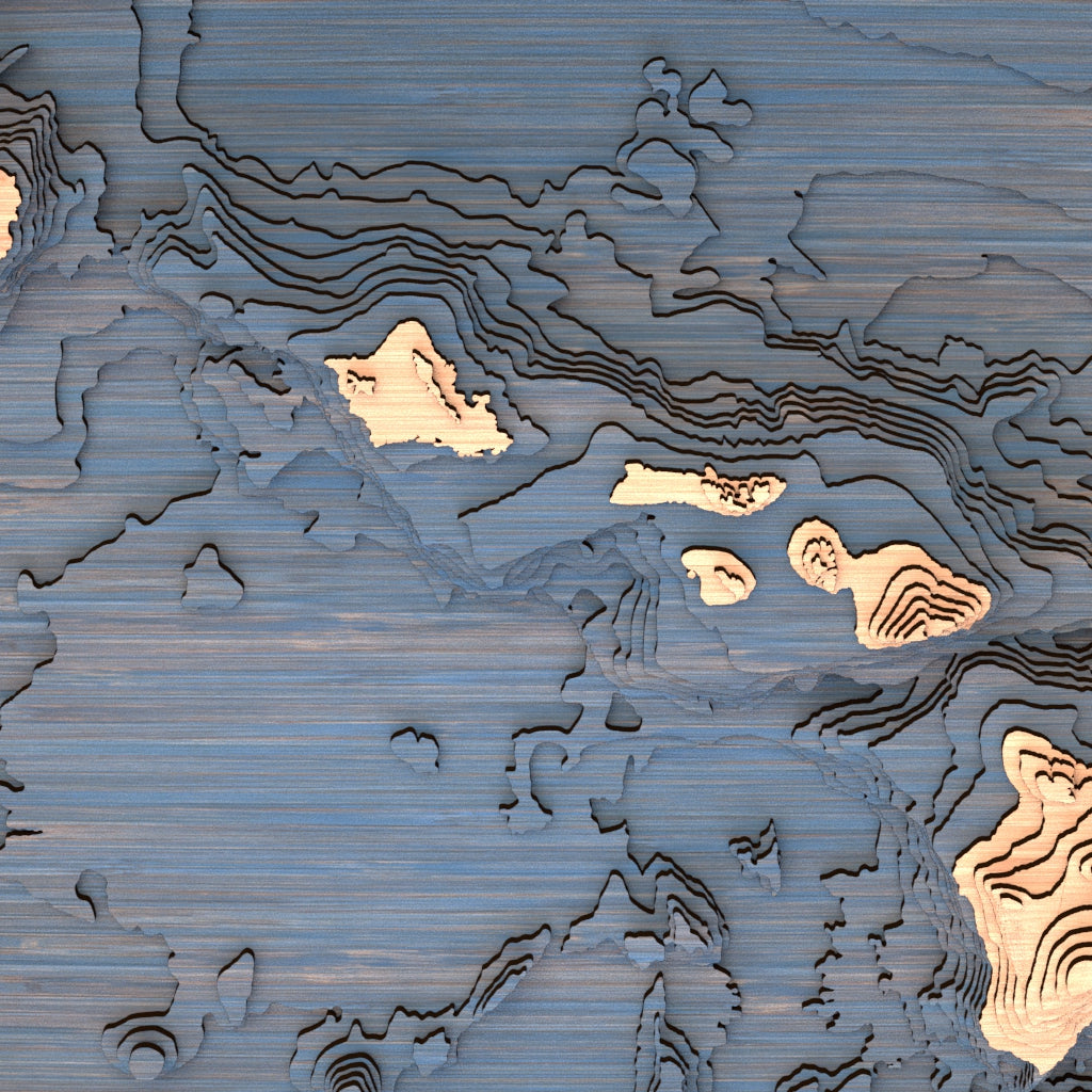 hawaii topographic wood map closeup