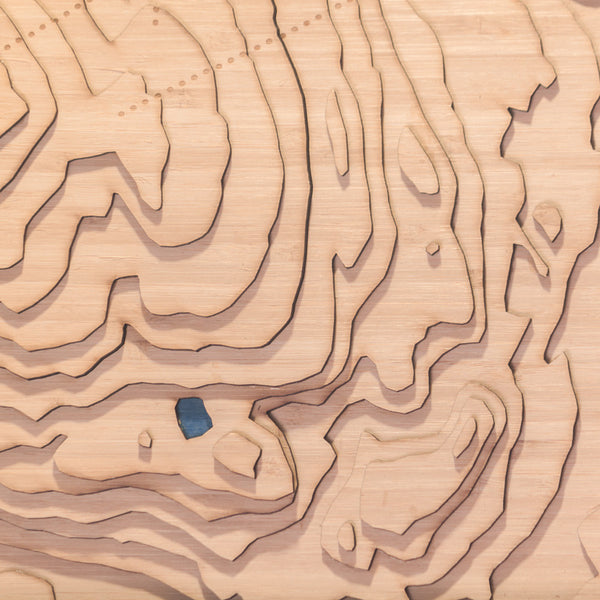 kimberley bc topographic wood map closeup