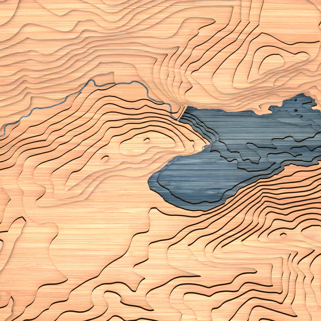 pinecrest lake topographic wood map closeup