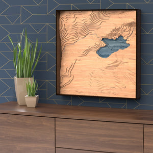 pinecrest lake topographic wood map styled