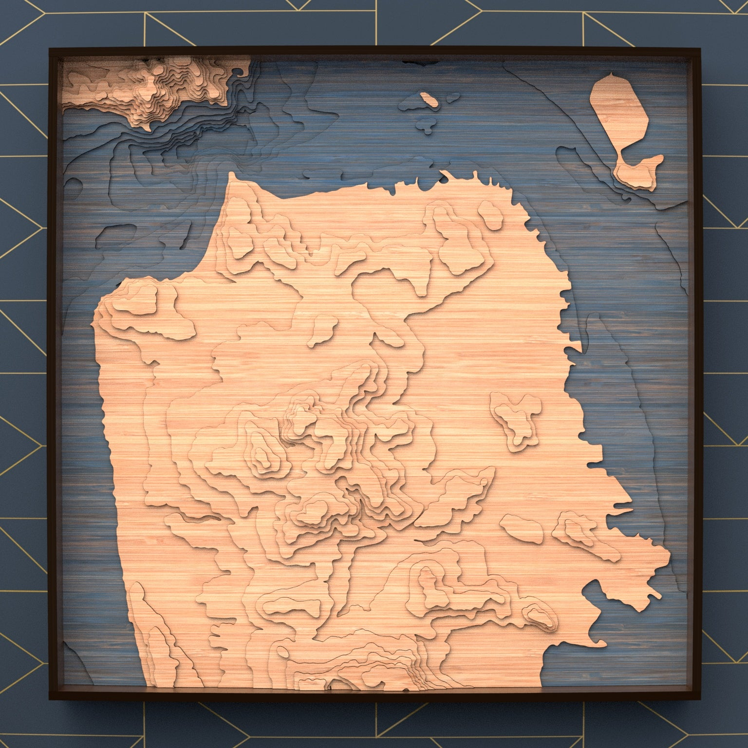 san francisco topographic wood map full
