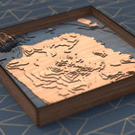 san francisco topographic wood map flat angle