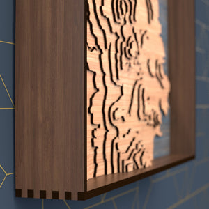 san francisco topographic wood map frame rail detail