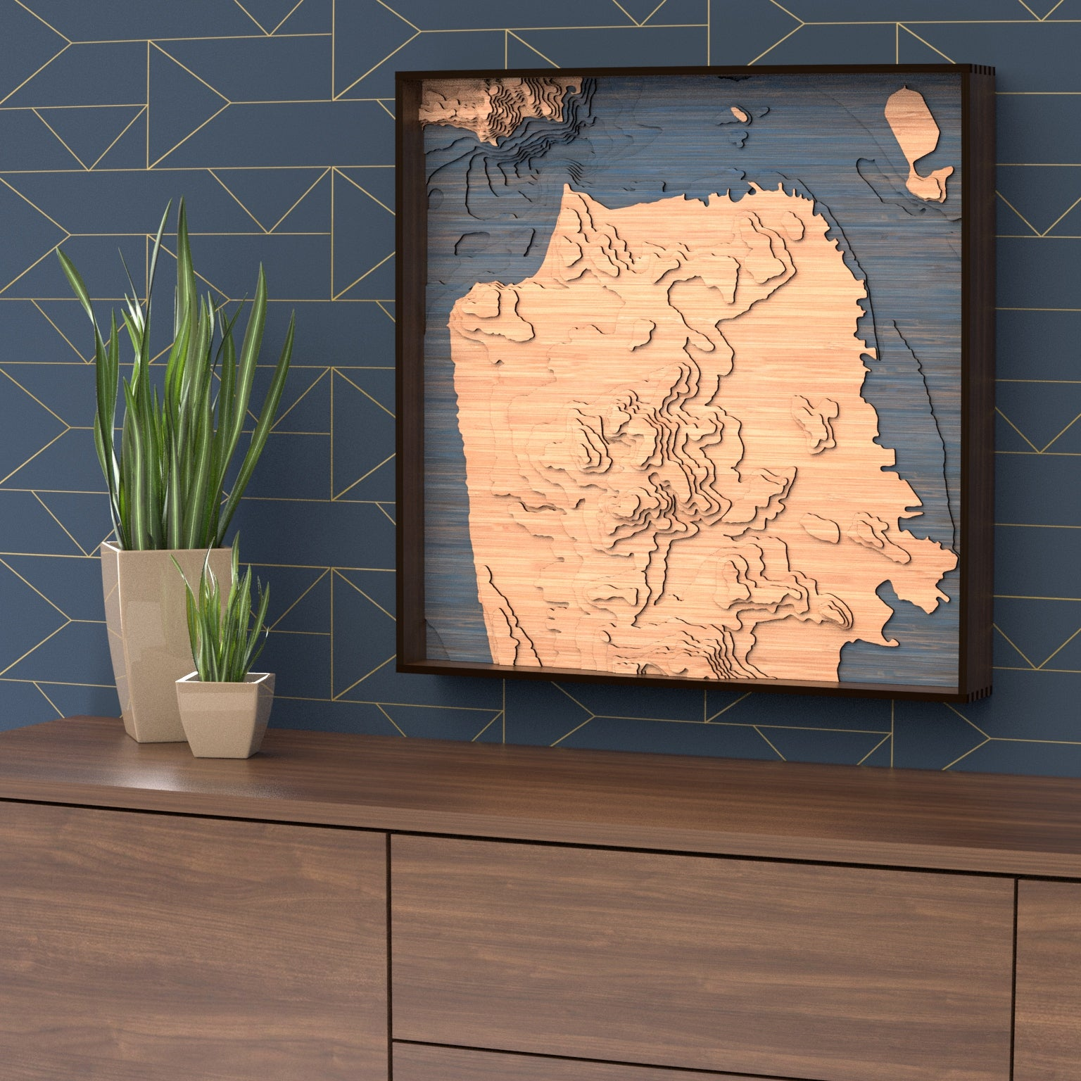 san francisco topographic wood map styled