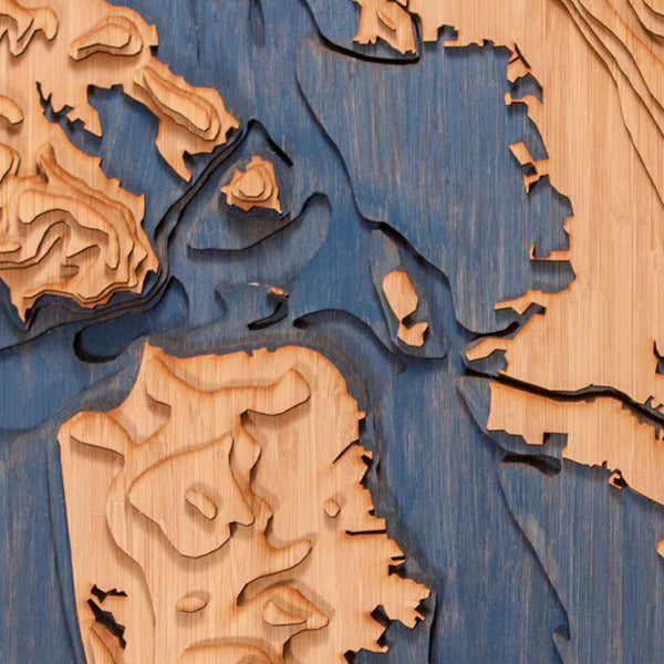 san francisco bay custom topographic map closeup