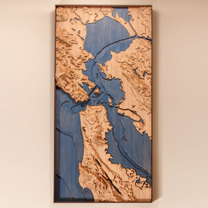 san francisco bay custom topographic map full