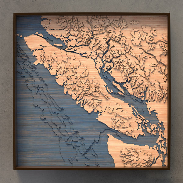 vancouver island topographic wood map full