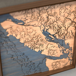 vancouver island topographic wood map angle