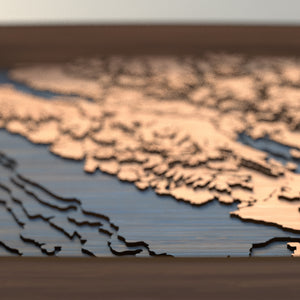 vancouver island topographic wood map depth