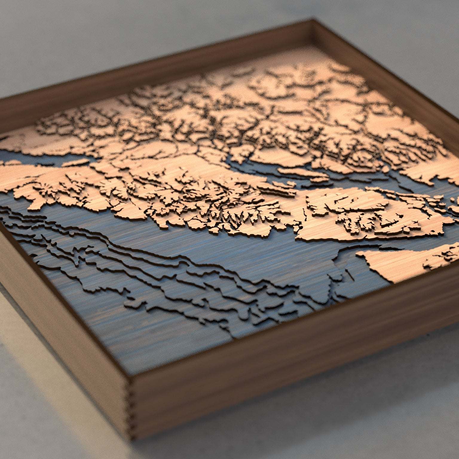 vancouver island topographic wood map flat angle