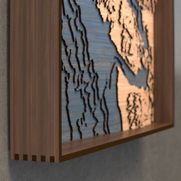vancouver island topographic wood map frame rail detail
