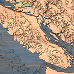 vancouver island topographic wood map closeup