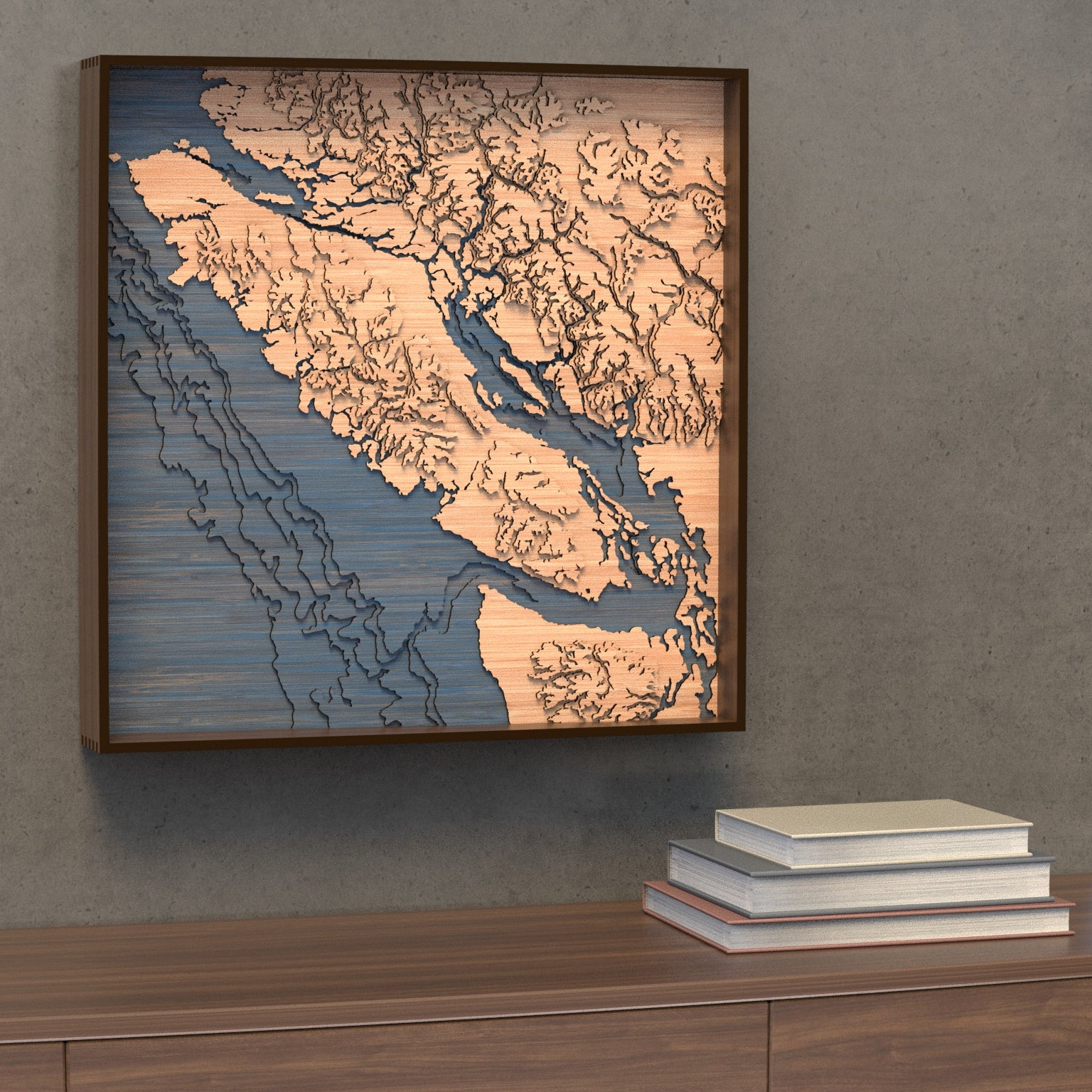 vancouver island topographic wood map styled