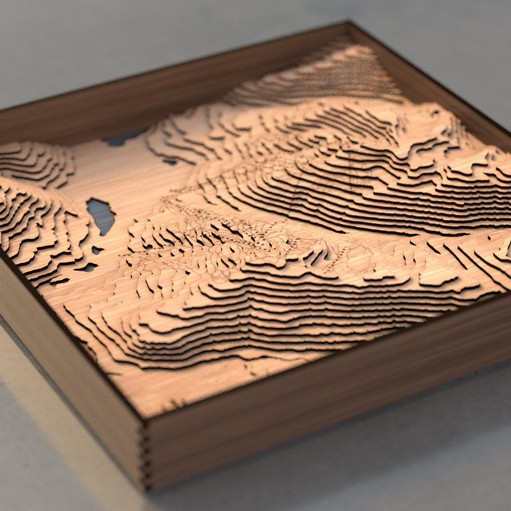 whistler blackcomb topographic wood map flat angle