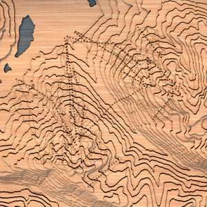 whistler blackcomb topographic wood map closeup