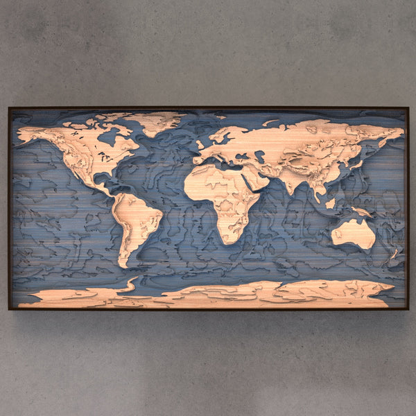 world topographic wood map full
